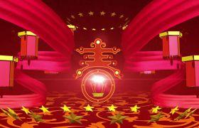 节日素材-喜庆大气欢乐牡丹开灯笼新春节日视频背景素材
