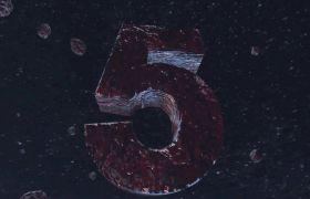 倒計時素材-炫酷震撼星空隕石爆炸5秒倒計時開場視頻素材