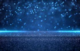 舞台素材-蓝色唯美粒子年会颁奖典礼舞台背景素材