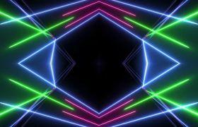 酒吧素材-转动炫彩霓虹灯舞动线条酒吧夜场舞台背景视频