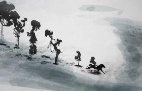古风素材-古风水墨骏马奔跑图动画古典舞台视频素材