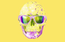 酒吧素材-动感彩色闪耀骷颅头光效酒吧背景视频