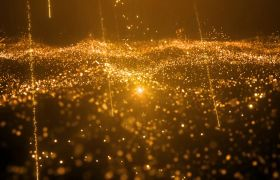晚会素材-璀璨金色流星雨粒子晚会舞台开场视频背景素材