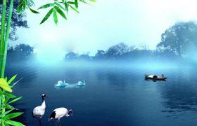 古风素材-寂静唯美中国风竹林仙鹤江边画卷风景古风视频素材
