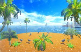 舞台素材-温馨浪漫唯美鸽子帆船海滩舞台背景视频素材