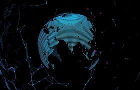 科技素材-蓝色星球大气粒子地球科技科技互联展示视频