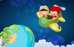 晚会素材-清新卡通飞机上的男孩晚会飞翔视频背景素材
