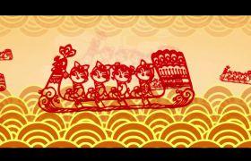中国风素材-复古中国风传统元素剪纸led视频背景素材