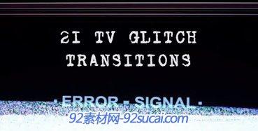 电视信号丢失等故障效果转场高清视频素材 Tv Glitch Transitions