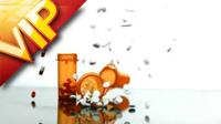 药瓶和药片跌落散落一地特写高清实拍视频素材