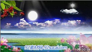 海上明月白云圆月河水荷花小鱼游荡中秋节LED舞台晚会背景视频素