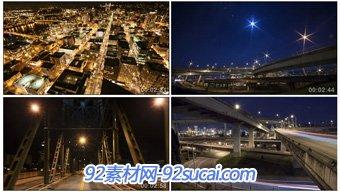 延时摄影 航拍城市美景夜晚街道高架大桥车流城市夜景高清实拍