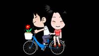 一对情侣骑自行车 骑单车演示动画 带通道前景修饰视频素材