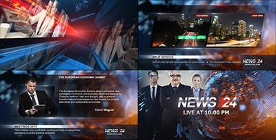 AE模板 广播设计新闻超科幻背景特效转场栏目包装展示