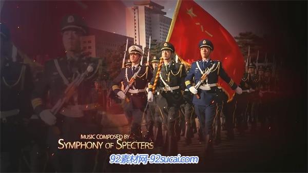 AE模板 中国强国梦闪耀五星红旗飘荡军政片头 AE素材