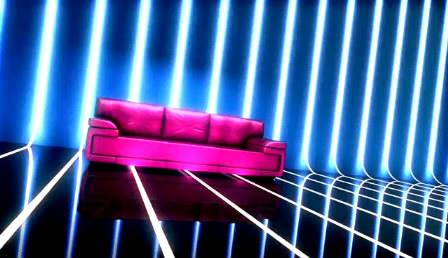 玫红时髦沙发灯管舞台LED配景高清视频素材