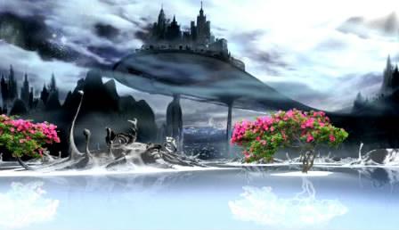 唯美浪漫的景色仙台瑶池湖云穿过LED神话舞台配景视频素材
