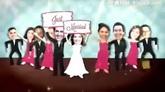 滑稽卡通人物公仔婚礼头像舞会派对AE模板 Wedding Dance Party