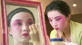 苏州昆曲演员化妆头饰装扮中国民间传统艺术戏剧高清实拍视频素材