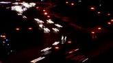航拍灯光夜景车流快速流动高清实拍视频素材