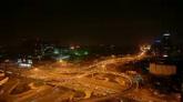 立交橋高樓燈光夜景高速車流高清實拍視頻素材