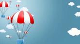 卡通降落伞儿童节目舞台背景视频素材