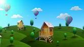 绿色山丘热气球小屋高清背景视频素材