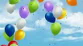 彩色气球上升在空中 彩色碎纸散落 节日庆典高清背景视频素材