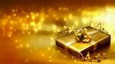 暖色系炫丽的金色粒子坠落 节日庆典 礼物盒高清动态背景视频素材