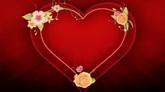 喜庆婚礼 鲜花绕红色爱心生长 高清动态背景视频素材