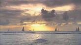 夕阳下海面上的帆船风光美景高清实拍视频素材