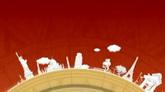 卡通世界各地景点转盘展示高清动态背景视频素材