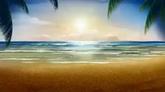 阳光椰树下的沙滩高清动态背景视频素材