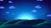 星空缺云小山丘舞台高清静态配景视频素材