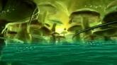 唯美仙境 綠色大蘑菇 粒子光線高清動態背景視頻素材