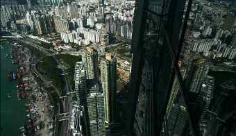 香港城市大楼特写夜景实拍高清实拍视频素材