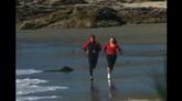海边跑步 标清实拍视频素材