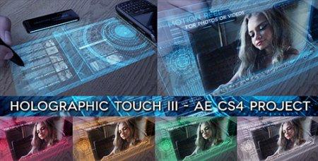 高科技数字化全息投影触屏效果图文展示AE模板 Holographic Touch