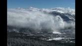 云烟缭绕山峰美景标清实拍视频素材