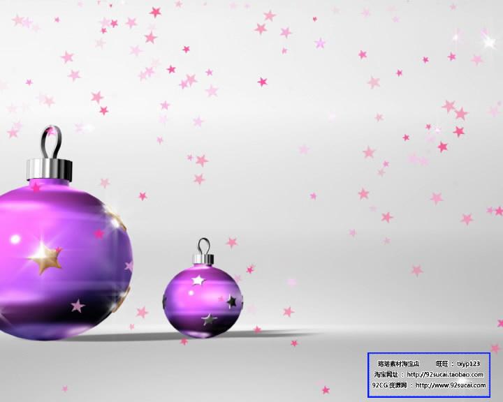 圣诞节日素材 紫色球灯标清动态背景视频素材