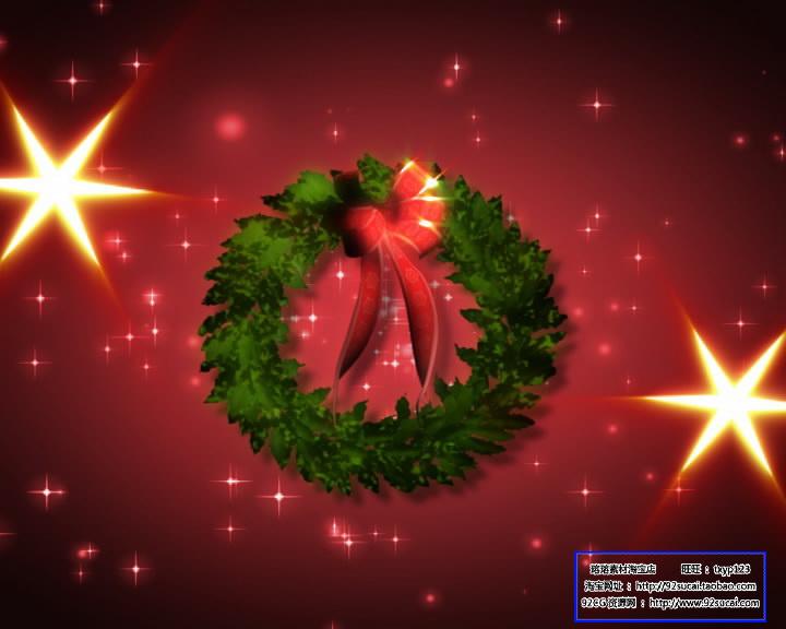 圣诞节日素材 圣诞花圈标清动态背景视频素材