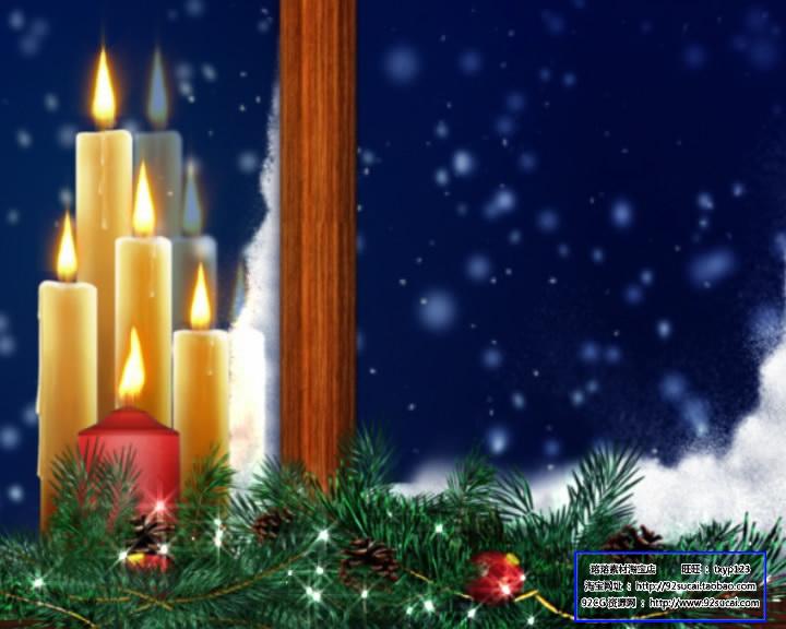 圣诞节日素材 圣诞橱窗蜡烛标清动态背景视频素材