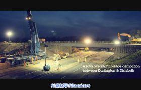 延時攝影 拆大橋全過程 建筑施工大型挖土機鉆土機作業高清實拍