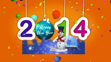 2014新年雪人动画高清视频素材Happy New Year 2014