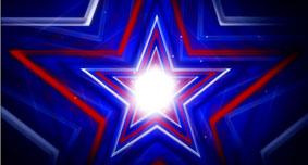 五角星星时空蓝色背景高清动态视频素材 Emerging Star