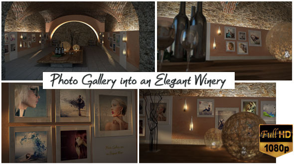 《酒庄墙壁相册展示AE模板》Photo Gallery In An Elegant Winery