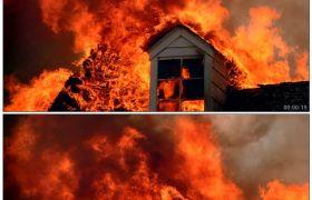 房屋大火 浓烟2 高清实拍视频素材