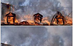 房屋大火 浓烟5 高清实拍视频素材