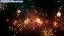 烟花 各色多彩伞状烟花夜空壮丽绽放 高清静态视频素材