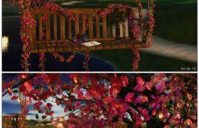 唯美浪漫的风景 草地花瓣湖泊大树秋千背景 高清动态视频素材